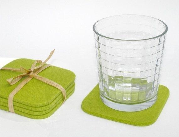 Square Cloth Kitchen Coasters for Drinks, Lime Green Felt Coaster Set 5MM Thick Merino Wool Felt Beverage Coaster Set Hostess Gift
