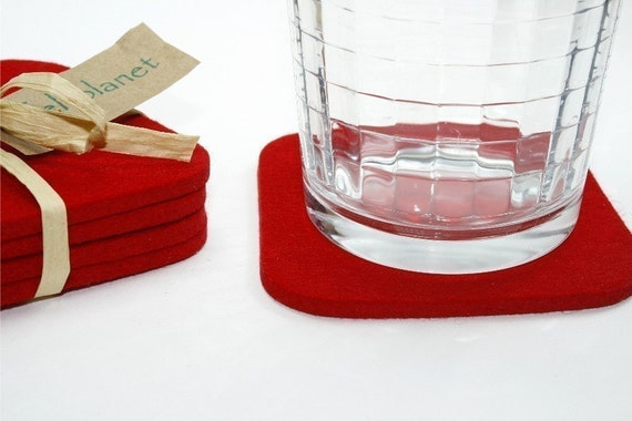 Square Red Drink Coaster Set in 5mm Thick Virgin Merino Wool Felt Fabric Eco Friendly Coasters Housewarming Hostess Gifts Felted Barware