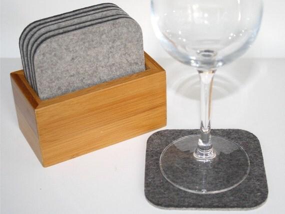 Square Coaster Set in 5mm thick merino wool felt-six