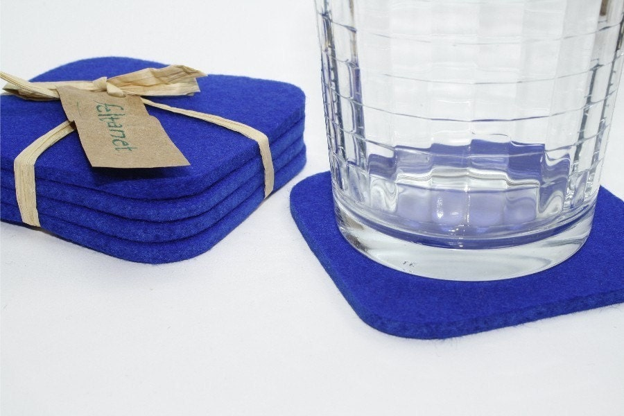 Square drink absorbent coasters in 5mm thick merino wool felt - Drink coasters absorbent ...