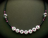 lowercase- beaded pinky cupcake skull kid girl adult necklace