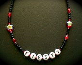 lowercase- beaded red fiesty star kid girl adult necklace
