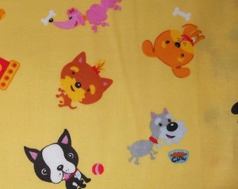 One Yard Of Puppy Friends On A Yellow Background