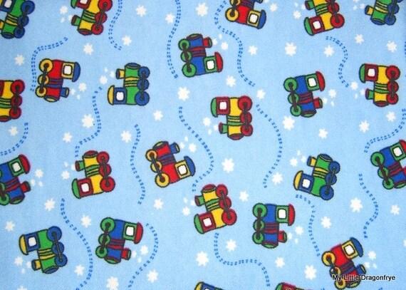 One yard train flannel fabric for Train fabric by the yard
