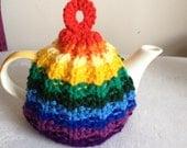 Hand Knitted Small Rainbow Rib Tea Cosy Cosies NEW