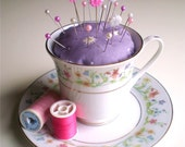 Teacup Pin Cushion Flower/Gold - Upcycled