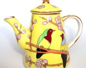 Beautiful Miniature Vintage China Teapot  'Bird Design' from The Leonardo Collection