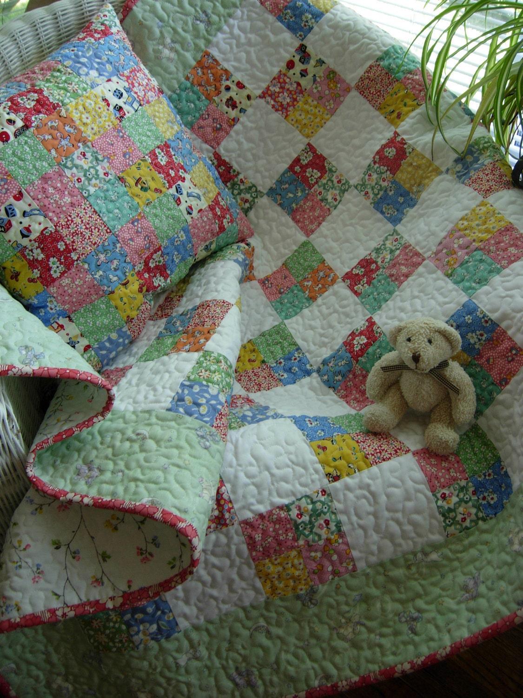 Grandma S Scrapbasket Baby Block Quilt And Pillow Set