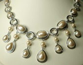 Pearl Wedding Necklace, Elegant Teardrop Dangles, June Bridal, Prom, Mom, Already a Classic, Unused, 1990s