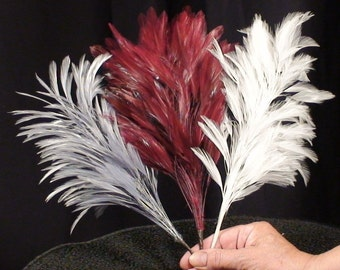 WHITE or GRAY Hat Feather, Millinery Hat Mount. Rooster  Hackle Feathers,Weddings, Bridal Hairpiece, Long 10 Inches Tall on Flexible Wire