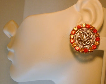 Orange Rhinestone Clip Earrings, 1970s, Fake Letters, Gold Round Buttons with Sunset Sparkle Colors, Retro Glam