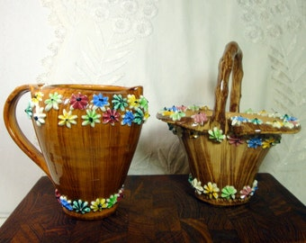 Italian Cream and Sugar Ceramic Set, 1950s Kitsch, Cubed Sugar  Basket, SALE,  Flowered  Whimsical Primitive Country, Flowers, Post WWII