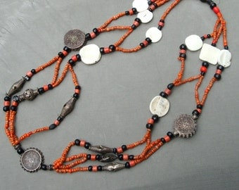 Rare Antique CORAL Tribal Necklace,  Mid East, Authentic Museum Piece, Collectible, These Do Not Exist in One Piece