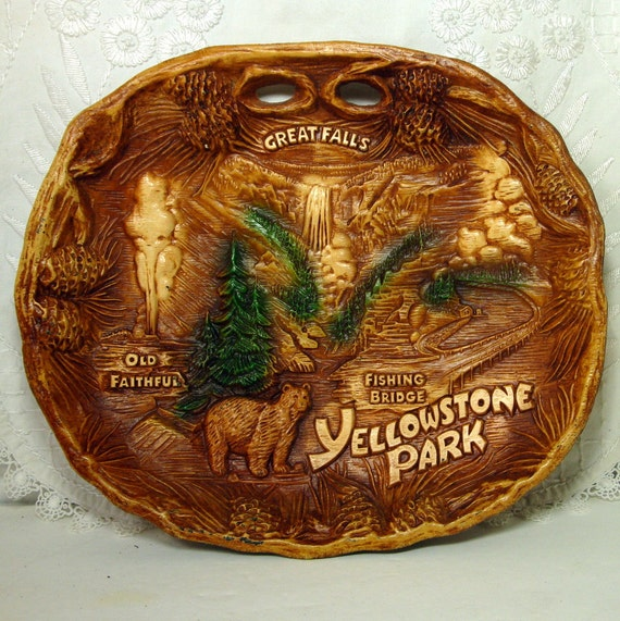 1950's Yellowstone Park Souvenir Tray, by TACO, Like Syroco Wood, Faux Bois, Brown Platter, Plastic Wall Hanging, Old Faithful, Bear