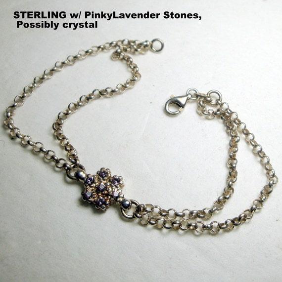 Sterling Silver Chain Bracelet, Lavender Glass Rhinestone Flower Center  Italy 925, SWEEEEEEEEEEET, Sweet, Sweet