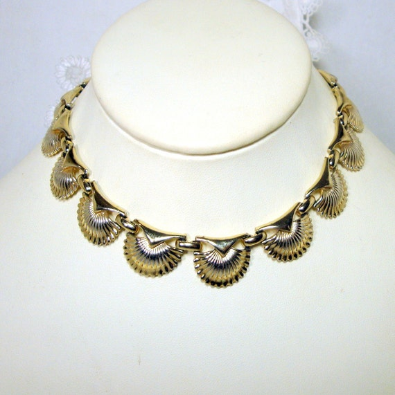CORO Egyptian Revival Silver Slave Choker Necklace, Scalloped Art deco Style Links, Classic Nubian Collar, Adjustable