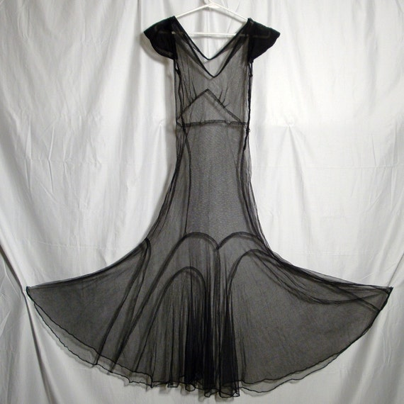 REDUCED NOW..VINTAGE 1930s Goth Gown .Fetish...BLACK Transparent Netting..Geometric Structured Dress ..Retro Metro Style