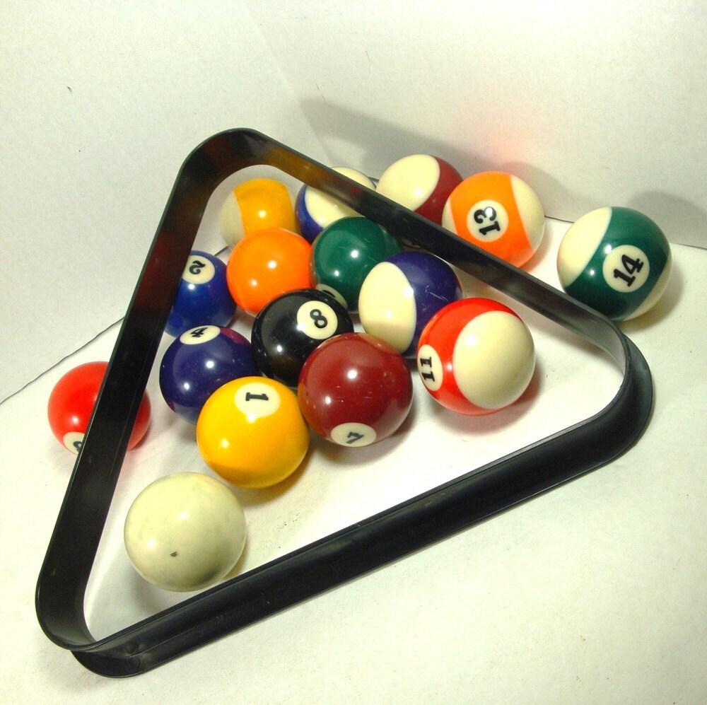 Vintage Pool Balls And Triangle Set Billiards Set Up 1980s