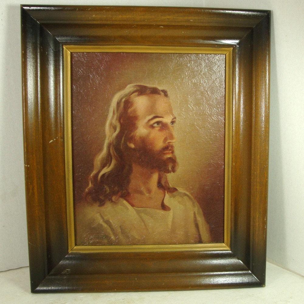 Vintage Framed Jesus Christ Portrait 1941 By Vintagestarrbeads