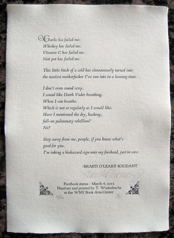 Shasti O'Leary Soudant Poetry Broadside -((-Explicit lyrics-))