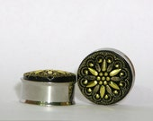 Gold and Black Tribal Flower Plugs 1 Inch  25mm