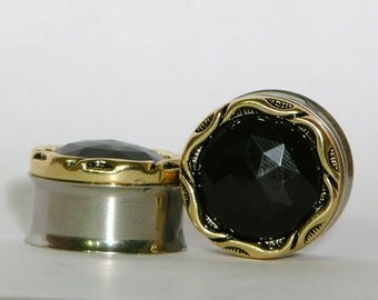 """Black and Gold Crystal Plugs 7/16"""" 1/2"""" 3/4"""" 7/8"""" 11mm 12mm 13mm 19mm 22mm"""