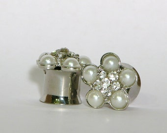 "Pearl and Crystal Wedding Flower Plugs 0G 00G 7/16"" 8mm10mm 11mm"