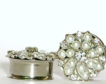"""Snowflake Queen Crystal and Pearl Wedding Plugs 3/4"""" 7/8"""" 1"""" 19mm 22mm 25mm"""
