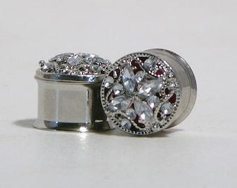 Silver Crystal Plugs 5/8 Inch 16mm