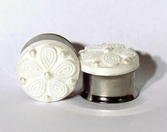 White Tribal Flower Plugs 9/16 5/8 3/4 7/8 Inch 14mm 16mm 19mm 22mm