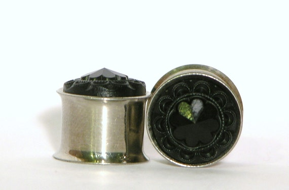 Black Crystal Plugs 0 00 Gauge 7/16 1/2 Inch 8mm 10mm 11mm 12mm