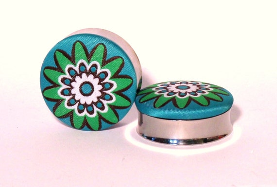 "Funky Fabric Flower Plugs 1 3/8"" 1 1/2"" Inch 36mm 38mm"