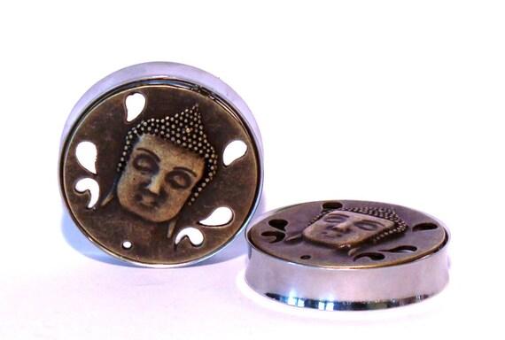 "Bronze Buddha Head Plugs 1 11/16"" 1 3/4"" 42mm 44mm"