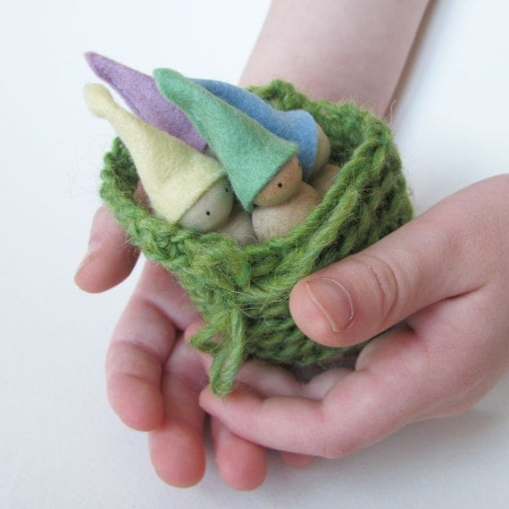 Basket filled with pastel gnome- green -