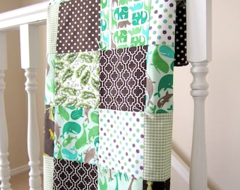 Zoo Menagerie Patchwork Baby Blanket