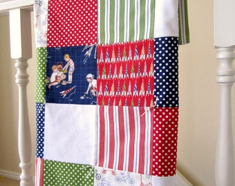 Last One -- Children at Play Patchwork Baby Blanket -- After School Collection