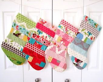 It's A Hoot Patchwork Christmas Stockings -- Set of 4 -- Green, Red, Pink, Blue