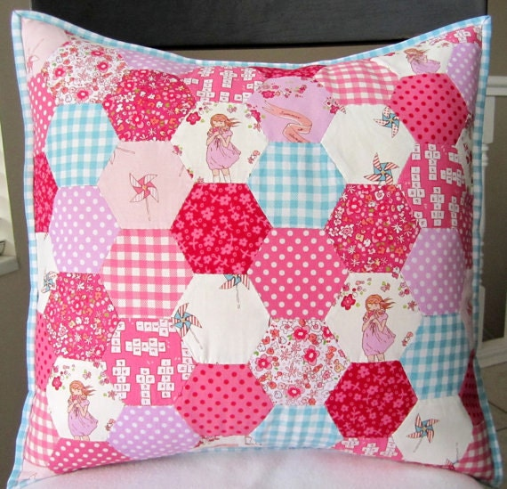 Items Similar To Children At Play Hexagon Patchwork Pillow