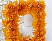SALE - Mustard Yellow Gold Mum Rectangular Wreath - Weddings, Centerpieces, Home Decor, Nursery (Regular Price 10.00)