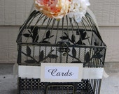 READY TO SHIP Large Rustic Wedding Bird Cage Card Holder - Ivory Ribbon & Coral/Peach And Ivory Blooms