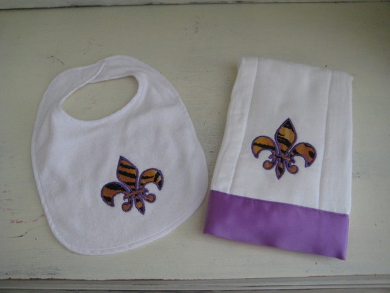 Appliqued Tiger Fleur De Lis Onesie, Bib and Burp Cloth Set