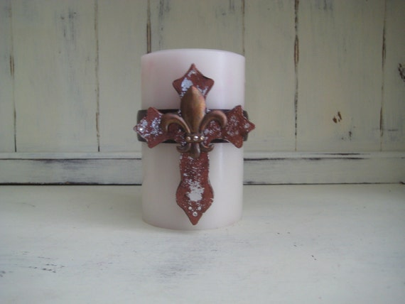SALE Candle Embellishment with Cross and Fleur de Lis, Bling, Corset, Wrap
