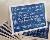 Watercolor Calligraphy Christmas Card Set of 10 Winter's Snow