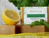 Sweet Lemon Basil Handmade Soap Cold-Process Bar