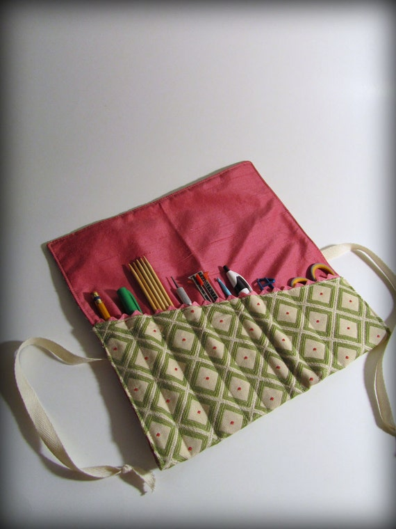 Utensil and Pencil Roll - Green Diamond and Pink Silk