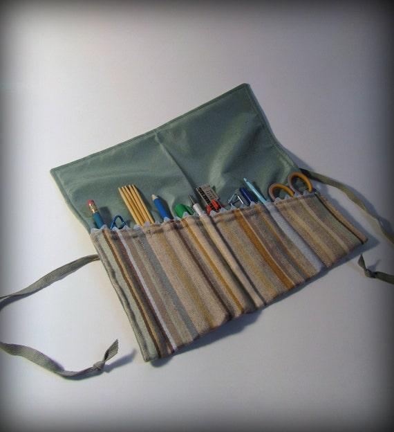 Utensil and Pencil Roll - Heather Grey Stripe and Aqua Silk