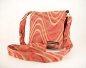 """SALE. HIP BAG in """"Orange Shockwave"""" Fabric. Passport Bag. Cross body bag.Travel Bag. Shoulder Bag. Made in America."""
