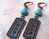MAIZE, asian inspired copper and turquoise earrings