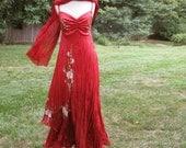 Silk hand painted summer evening dress WHITE ROSES