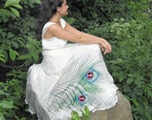 Silk hand painted dress PEACOCK FEATHER